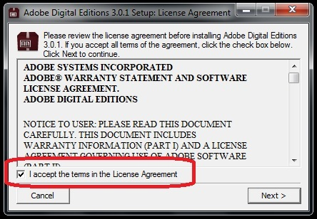 accept the License agreement before clicking