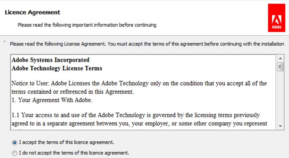 license agreement and then choose the next step