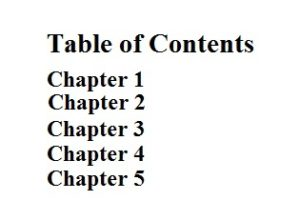 Creating A Table Of Content