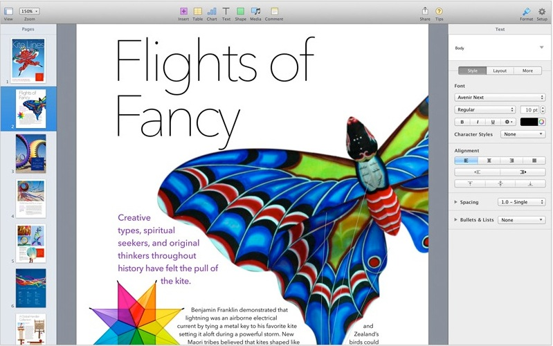 Features And Descriptions of Apple Pages