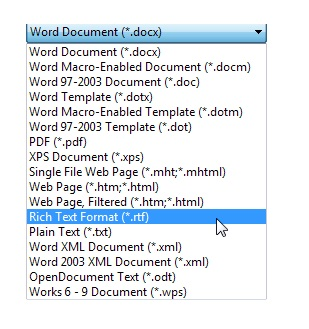 Rich Text Format To Word Document